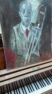 zelf geschilderd portret van oude muzikant