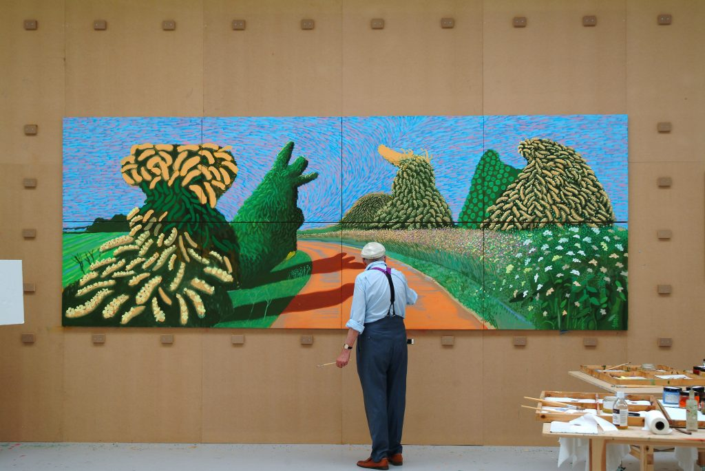 David Hockney schildert 'Bloeiende meidoorns langs de Romeinse weg', 2009, © David Hockney, Foto: Jean-Pierre Gonçalves de Lima